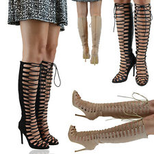 LADIES LACE UP KNEE HIGH STILETTO HEELS WOMENS CUT OUT CALF PEEP TOE BOOTS SIZE