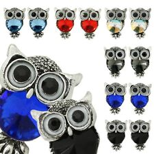 2x Owl  Earrings Stud Bird Vintage Style Metal Alloy Red Red Woman Rhinestone