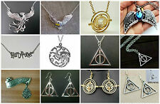Harry Potter Deathly Hallows Time Turner Tiara Mailbird Phoenix NECKLACE EARRING