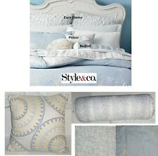 "Style & co Windfield Choice Euro Sham Set 16"" Square Pillow 24"" Bedroll NWT $290"