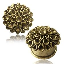 PAIR ANTIQUED FILIGREE FLOWER BRASS TUNNELS PLUGS TRIBAL GAUGES PLUGS PLUG GAUGE