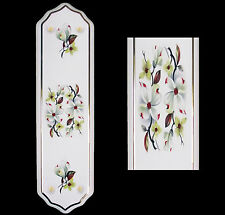 White Porcelain Ceramic Door Finger Push Plates White Orchid Flower Design