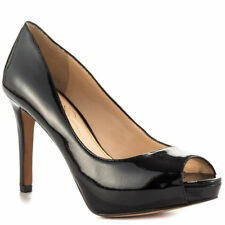 JESSICA SIMPSON KELIA BLACK PATENT LEATHER PEEP TOE MID HEEL PLATFORM PUMPS B51