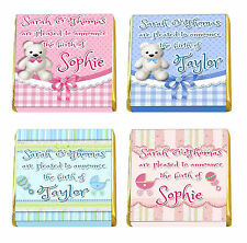 Personalised Baby Shower, Birth Announcement, Christening Chocolate Favours
