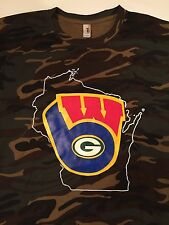 Wisconsin 3-in-1 Brewers Packers Badgers Logo T-Shirt -Camouflage