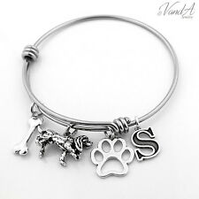 Expandable Stainless Steel Bangle bracelet w/ Sterling Silver Dog initial charm