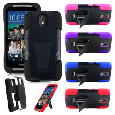 ForHTC Desire 526 Hybrid Rugged Impact Dual Layer Rubber Hard Case Cover Stand