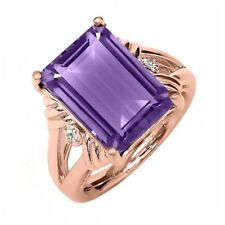 7.12 Ct Octagon Purple Amethyst White Sapphire 18K Rose Gold Plated Silver Ring