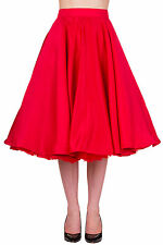Banned Swing Circle Retro Rockabilly Pin Up 50s Midi Skirt 8 10 12 14 16 Red