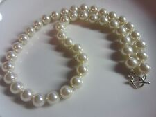 8mm 10mm Cream White Sea Shell Pearl Necklace 925 Sterling Silver Toggle Clasp