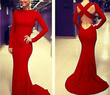 Women Celeb Backless Long MAXI One-piece Bandage Cocktail Evening Mermaid Dress