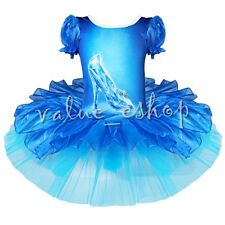 Girl Cinderella Queen Crystal Shoes Dress Costume Princess Fancy Party Dress