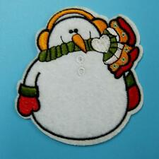 Snowman Winter Xmas Iron on Sew Patch Embroidered Applique Ice Holiday Badge Lot