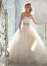 Champagne White Ball Lace Wedding Dress Bridal Gown Stock Size 4 6 8 10 12 14 16