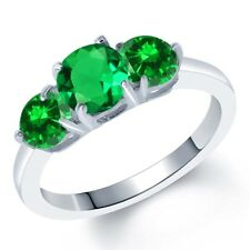 2.45 Ct Round Simulated Emerald Simulated Emerald 925 Sterling Silver Ring