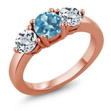 2.20 Ct Round Swiss Blue Topaz White Topaz 18K Rose Gold Plated Silver Ring