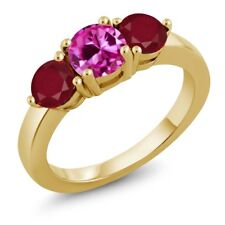2.12 Ct Round Pink Created Sapphire Red Ruby 18K Yellow Gold Plated Silver Ring