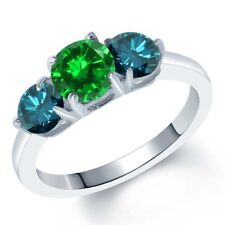 2.60 Ct Round Green Simulated Emerald Blue Diamond 925 Sterling Silver Ring