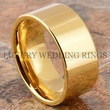 Gold Tungsten Mens Ring Pipe-Cut Wedding Band 10mm Flat Bridal Jewelry Size 6-13