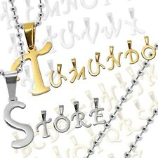 1 Pendant letter alphabet A B C name  + 1 Ball Chain Necklace Stainless Steel