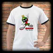 New* MARVIN THE MARTIAN White Ringer T-Shirt Tee Shirt