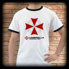 New Resident Evil UMBRELLA CORPORATION White Ringer T-Shirt Tee Shirt