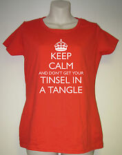 """Ladies Funny Christmas T-Shirt """"Keep Calm And Don't Get Your Tinsel in Tangle"""""""