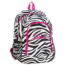 Personalized ZEBRA PINK LARGE School Bag Backpack Monogram Embroidery Name