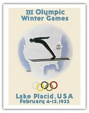 Winter Games Lake Placid New York Vintage Olympic Games Art Poster Print Giclee