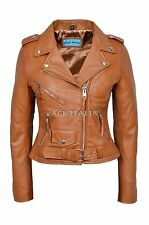 CLASSIC BRANDO Ladies Tan Biker Style Motorcycle Cruiser Lambskin Leather Jacket