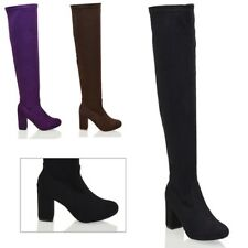 LADIES WOMENS THIGH HIGH OVER THE KNEE BLOCK MID HIGH HEEL STRETCHY BOOTS SIZE