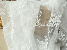 """Vintage 51"""" Wide White Corded Embroidery Bridal Lace Fabric Floral Lace 1/2 Yard"""