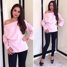 Fashion Women Sexy Slim Long Sleeve Boat Neck Loose Casual T-Shirts Blouse Tops