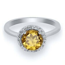 1.45 Ct Round Champagne Quartz 925 Sterling Silver Ring