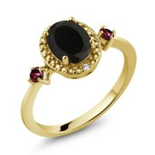 1.44 Ct Oval Black Onyx Red Rhodolite Garnet 18K Yellow Gold Plated Silver Ring