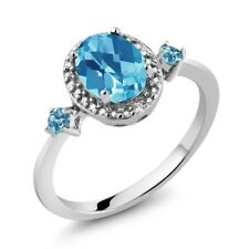 1.47 Ct Swiss Blue Topaz and Simulated Topaz 925 Silver Ring With Accent Diamond