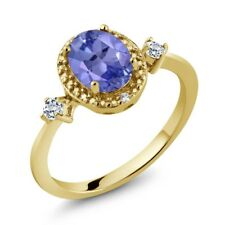 1.33 Ct Oval Blue Tanzanite White Topaz 18K Yellow Gold Plated Silver Ring