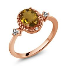 1.14 Ct Oval Whiskey Quartz White Diamond 18K Rose Gold Plated Silver Ring
