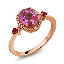 1.55 Ct Oval Pink Mystic Topaz Red Ruby 18K Rose Gold Plated Silver Ring