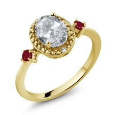 1.55 Ct Oval White Topaz Red Ruby 18K Yellow Gold Plated Silver Ring