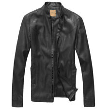 Men Long Sleeves Zip Up Stand Collar Fully Lined PU Leather Jacket