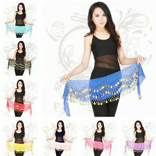 1x Belly Dance Dancing Hip Skirt Scarf Wrap Belt Hip with Silver Coins SUS