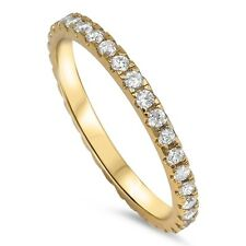 .925 Sterling Silver 2MM STACKABLE ETERNITY YELLOW GOLD CLEAR CZ RING SIZES 3-10