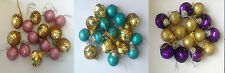 15 X 30mm Mini Christmas Tree Baubles - Sequin & Glitter Gold Pink Blue Purple