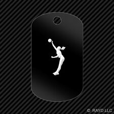 Womens Volleyball Keychain GI dog tag engraved many colors GIrl Spike Silouette