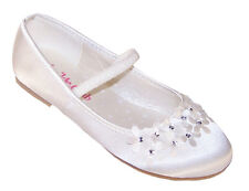 Ivory Girls Kids Satin Flower Girl Ballerina Shoes Bridesmaid Wedding Party
