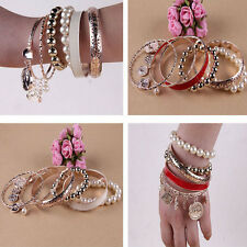 Fashion Women Mixed Bohemia Multilayer Artificial Pearl Bangle Glossy Bracelet