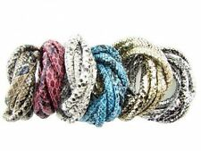Lots Snake Skin Faux Leather Wire Cord Bracelet Necklace Jewelry Findings 6mm