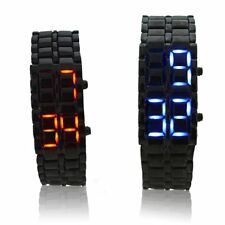 Fashion Men/Women Lava Samurai Binary LED Watch Steel Digital Wrist Watch Couple