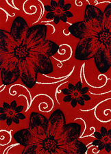 BLACK RED Easy-care Modern Contemporary Floral Rug Runner S - Large Sizes 30%OFF